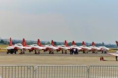O turco Stars planos do tigre NF-5 no aeroporto na POLARIZAÇÃO 2015 Fotografia de Stock