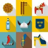 O turismo em ícones da Suécia ajustou-se, estilo liso ilustração stock