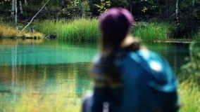 O turista com trouxa senta-se em uma árvore caída pelo lago azul da montanha O lago está na opinião traseira do foco filme