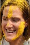O turista comemora Holi ou o festival hindu indiano das cores um acontecimento anual Fotos de Stock
