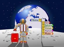 O turista do espaço retorna em casa à terra Fotografia de Stock