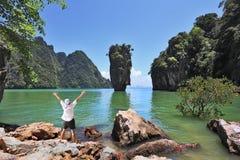 O turista entusiástico Imagens de Stock