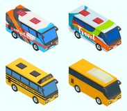 O turista isométrico ostenta ônibus escolares Fotos de Stock Royalty Free