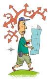 O turista navega com um mapa Imagem de Stock Royalty Free