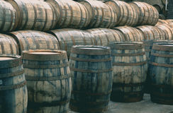 O uísque barrels completamente do uísque no destilador tradicional escocês imagens de stock