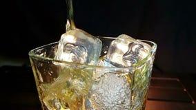 O uísque de derramamento do empregado de bar no vidro com os cubos de gelo na tabela de madeira e no fundo escuro preto, foco em  video estoque