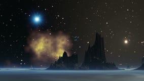 O UFO da flotilha no planeta do estrangeiro do céu ilustração royalty free