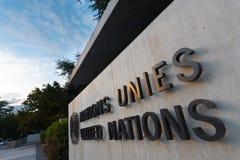 O UN da entrada sedia o sinal de Genebra Fotografia de Stock Royalty Free