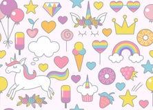 O unicórnio, o arco-íris, os doces e outro objetam o teste padrão sem emenda com luz - fundo cor-de-rosa ilustração stock