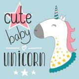 O unicórnio bonito mágico do bebê, estrelas cartaz, cartão, ilustração do vetor com esboço para crianças imprime a roupa e o cart Imagem de Stock