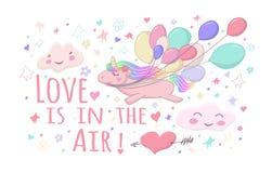 O unicórnio de voo guarda bolas coloridas em sua boca os caráteres bonitos da nuvem, coração perfuraram por uma seta ilustração royalty free