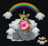 O unicórnio do cão come uma filhós na nuvem ilustração stock
