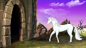 O unicórnio do conto de fadas vai ao castelo ilustração do vetor