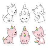 O unicórnio dos gatos do personagem de banda desenhada isolaten no fundo branco Crianças que colorem com gatinhos bonitos ilustração stock