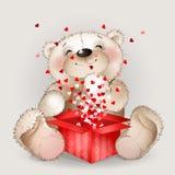 O urso appy do  de Ð obteve em uma caixa de presente com lotes dos corações 3 Foto de Stock Royalty Free