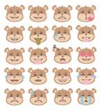 O urso de marrom bonito do estilo dos desenhos animados enfrenta com expressões faciais diferentes, grupo dos vetores do emoticon ilustração stock