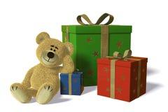 O urso de Nhi com Natal e aniversário-apresenta Imagens de Stock
