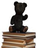 O urso de peluche senta-se em uma pilha dos livros Fotos de Stock Royalty Free