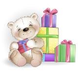 O urso de sorriso está sentando-se com caixas de presente Foto de Stock