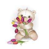 O urso de sorriso está sentando-se com um ramalhete Fotografia de Stock Royalty Free