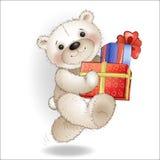 O urso de sorriso vem com uma caixa de presente Fotos de Stock