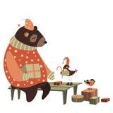 O urso e o pássaro comemoram o Natal Fotografia de Stock