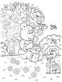 O urso e o rato comem o mel Imagens de Stock Royalty Free