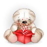 O urso obteve em uma caixa de presente com lotes dos corações Imagem de Stock Royalty Free