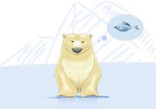 O urso polar pensa sobre a ilustração do vetor dos peixes Fotografia de Stock