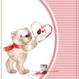 O urso tira um heart2 Imagens de Stock Royalty Free