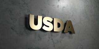 O Usda - sinal do ouro montado na parede de mármore lustrosa - 3D rendeu a ilustração conservada em estoque livre dos direitos ilustração do vetor