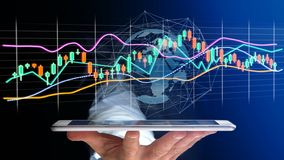 O usng do homem de negócios um smartphone com um 3d rende a bolsa de valores tr Imagem de Stock Royalty Free