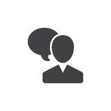 O usuário e o discurso borbulham, vetor de fala do ícone da pessoa, sinal liso enchido, pictograma contínuo isolado no branco ilustração stock