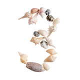 O vário mar descasca o número 3 no fundo branco Fotos de Stock