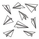 O vário papel isolado aplana o conceito preto do voo do esboço ilustração stock