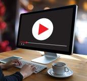 O vídeo audio do MERCADO VIDEO, introduz no mercado os canais interativos, Bu Foto de Stock