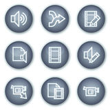 O vídeo audio edita ícones do Web, teclas minerais do círculo Imagens de Stock