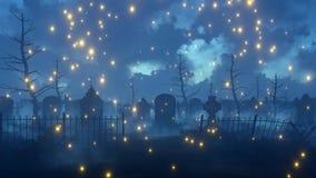 O vaga-lume feericamente ilumina-se no cemitério assustador 4K da noite ilustração royalty free