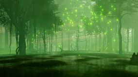 O vaga-lume místico ilumina-se na floresta pantanosa 4K da noite ilustração stock