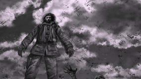O vagabundo do sobrevivente está na montanha dos mortos e respira na perspectiva das nuvens running ilustração stock