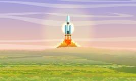 O vaivém espacial decola sobre um prado verde Lan?amento do foguete de espa?o landfill Viagem espacial ilustração royalty free