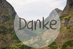 O vale e a montanha, Noruega, meios de Danke agradecem-lhe Fotografia de Stock Royalty Free