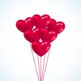 O Valentim cor-de-rosa do coração balloons o fundo Imagens de Stock