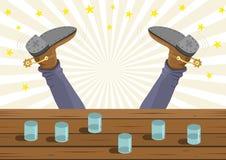 O vaqueiro bêbado caiu ilustração stock