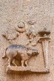 O varrão como em quarto o avatar de Vishnu no templo de Kallalagar Imagem de Stock Royalty Free