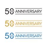 50.o vector simple del logotipo de los años del aniversario color oro del negro azul ilustración del vector