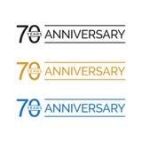 70.o vector simple del logotipo de los años del aniversario color oro del negro azul ilustración del vector
