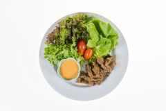 O vegetal orgânico contém o iceberg do frillice, butterhead, tomate, Foto de Stock