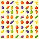 O vegetal sem emenda mordido do fundo do teste padrão do alimento da vitamina dos frutos cortou o vetor delicioso do petisco da a ilustração stock