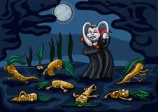 O vegetariano que o vampiro é hipnotiza cenouras ilustração royalty free